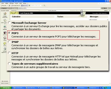 Configuration email d'un Outlook 2003 en POP3 part 3