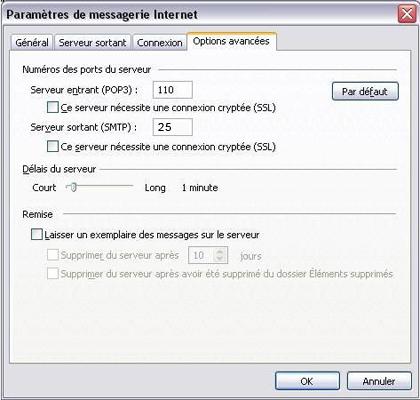 Configuration email d'un Outlook 2003 en POP3 part 5