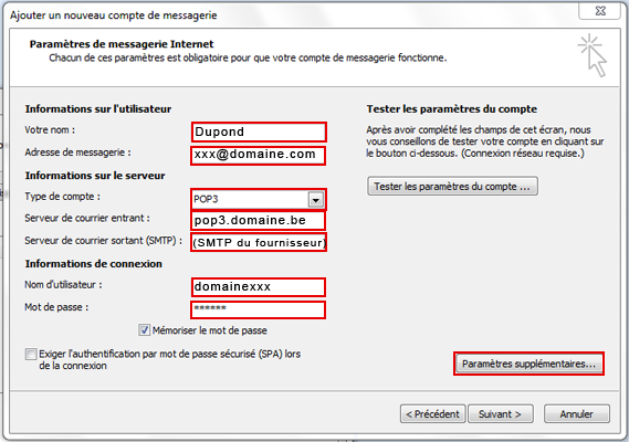 Configuration email d'un Outlook 2007 en POP3 part 4