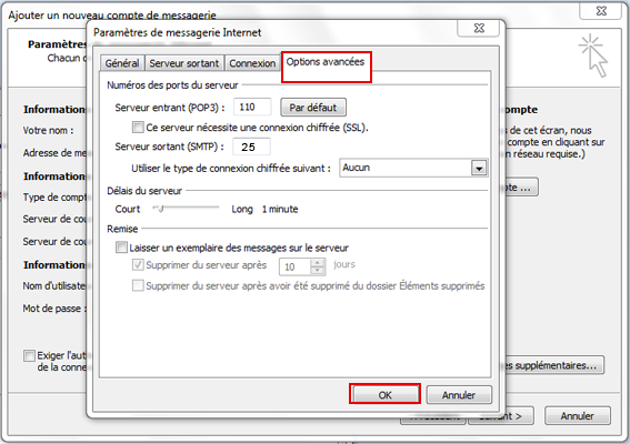 Configuration email d'un Outlook 2007 en POP3 part 6