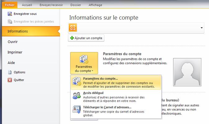 Configuration email d'un Outlook 2010 en POP3 part 1